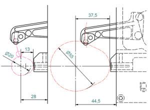 Nockengrößen mit Grundkreisen von 20-55 mm Durchmesser sind ohne Wechselteile prüfbar.